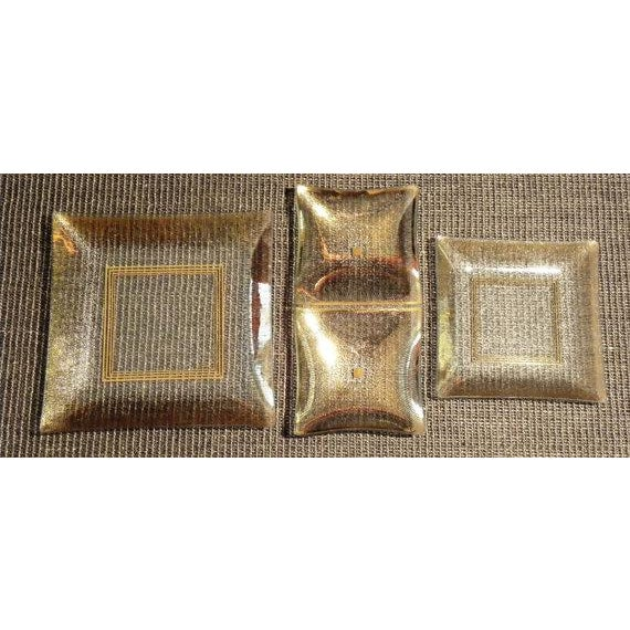 Image of Vintage Rojack Glass Dishes with Gold Accents - 3