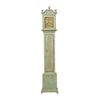 19th Century Swedish Painted Wood Clock with Linear Profile