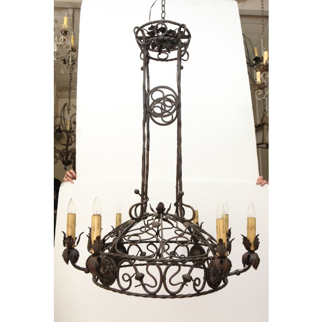 1940's Wrought Iron Chandelier - Image 2 of 8