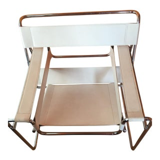 Mid Century Modern White Leather Wassily Style Chair