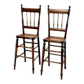 Antique Victorian Children's Cane High Chairs