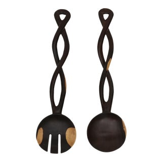 Hand Carved Wood African Salad Tossing Spoon - A Pair