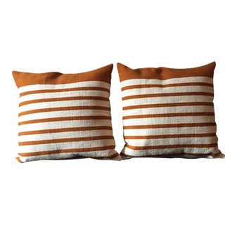Gold & Beige CB2 Division Throw Pillows - A Pair