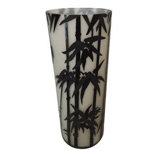 Vintage Frosted /Black Enamel Vase With Bamboo Motif