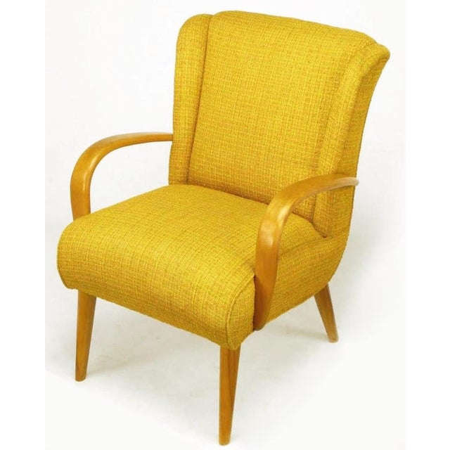 Circa 1940s Maple Wood & Saffron Upholstered Lounge Chair - Image 2 of 10
