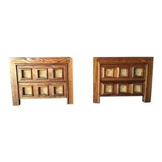 Vintage Brutalist Wood & Cork Nightstands - Pair