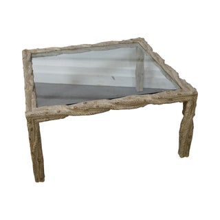 Custom Faux Bois Glass Top Coffee Table
