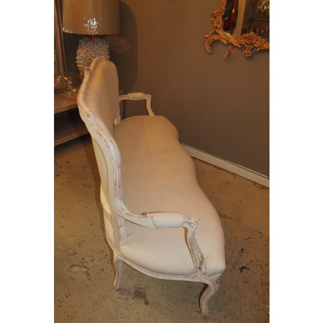 French Upholstered 6-Leg Settee - Image 3 of 5