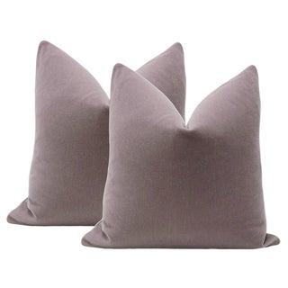"22"" Smokey Lavender Mohair Velvet Pillows - A Pair"