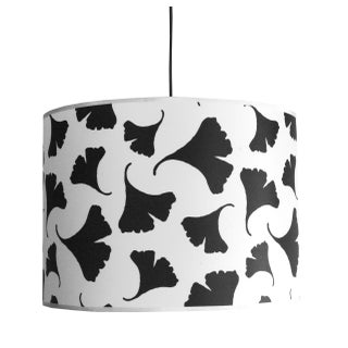 Black & White Leaf Pattern Fabric Pendant Light