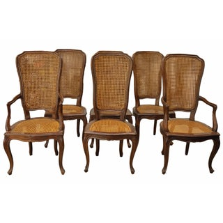Vintage Double Cane Back Dining Chairs - Set of 6