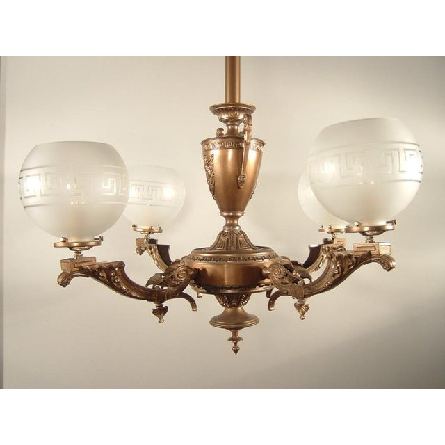 Renaissance Spelter Gas Fixture (4-Light) - Image 5 of 8