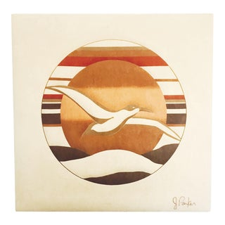 Mid Century Seagull Felt Art by J Parker