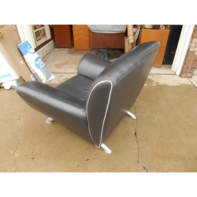 Italian Designer Contemporary Black Leather Chair - Image 4 of 5