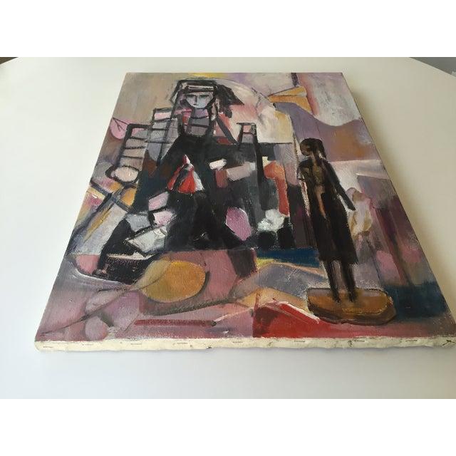 Vintage Modernist Cubist Acrylic Painting - Image 4 of 8