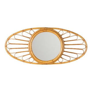 Vintage French 1960s Bamboo and Rattan Oval Mirror