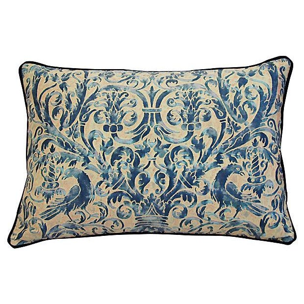 Custom Designer Italian Fortuny Uccelli Feather/Down Pillows - Pair - Image 3 of 10