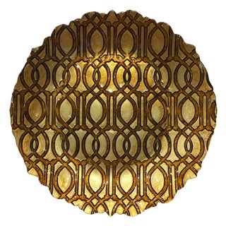 Brown & Gold Graphic Glass Plate