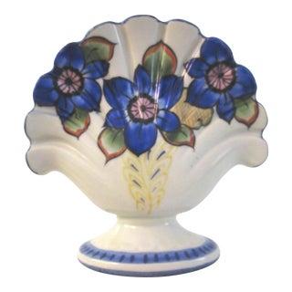 Vintage Blue Floral Ceramic Frog