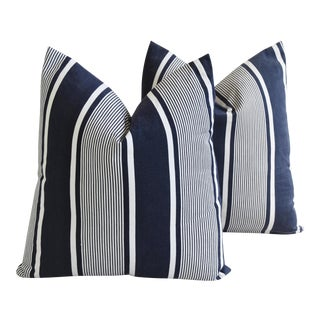 """Custom French Stripe Ticking Fabric Feather & Down Pillows 22"""" X 21"""" - a Pair"""