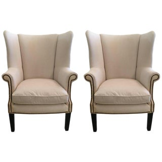 White Duck Wing Chairs - A Pair