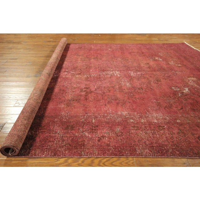 Persian Overdyed Rose Red Tabriz Rug 10' x 13' - Image 7 of 8