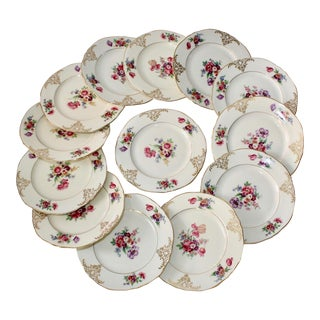 Floral Porcelain Hallmarked Dessert Plates - Set of 13