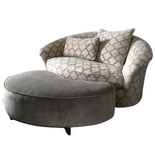Modern Chair & Kidney Shaped Ottoman