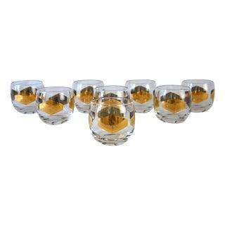 Vintage Metallic Gold Cocktail Glasses - Set of 8