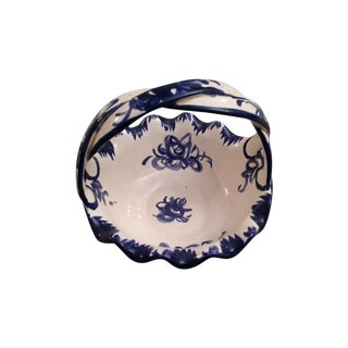 Vintage Hand Painted Blue and White Basket