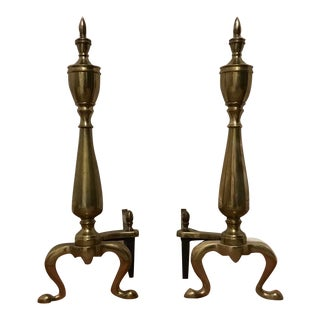 Federal Style Brass & Cast Iron Andirons- A Pair