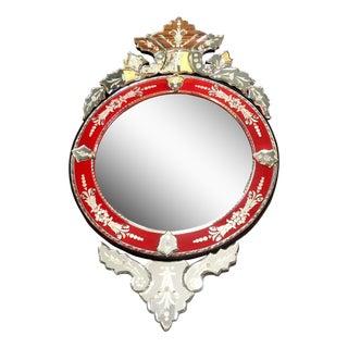 Venetian Style Red Round Mirror