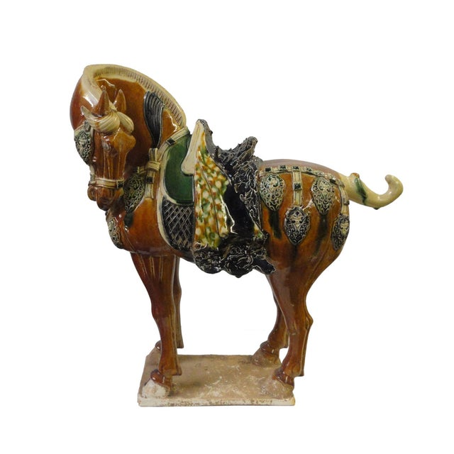Chinese Porcelain Battle Horse Statue Figurine - Image 1 of 5