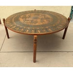 Image of Egyptian Theme Stamped Copper Coffee Table Ca 1970