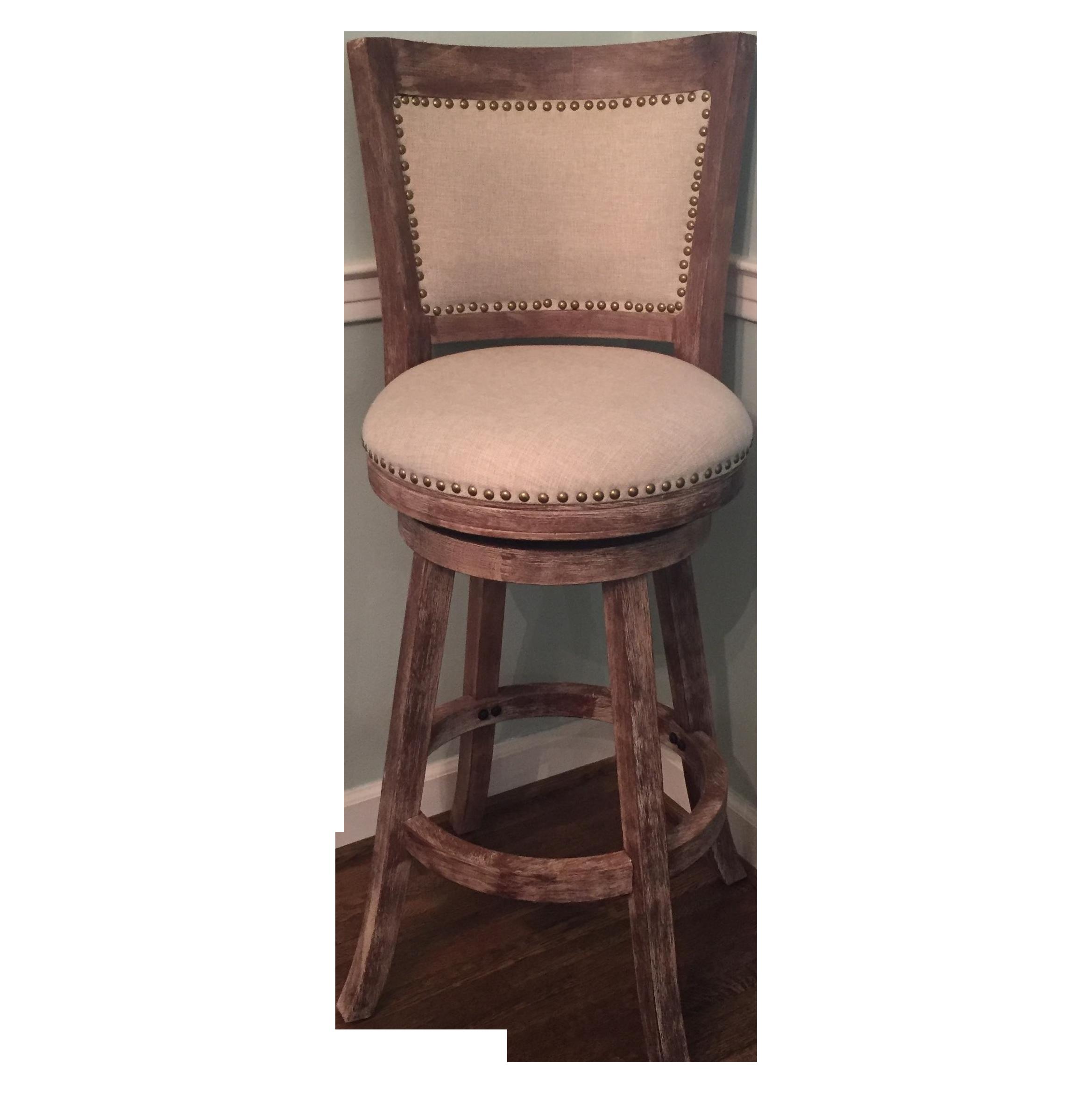 Linen Nailhead Bar Stools Set Of 3 Chairish