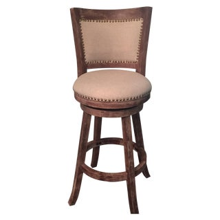 Linen Nailhead Bar Stools - Set of 3