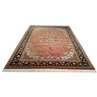 6′9″ × 9′7″ Vintage Persian Tabriz Handmade Knotted Rug - Size Cat. 6x9 7x10