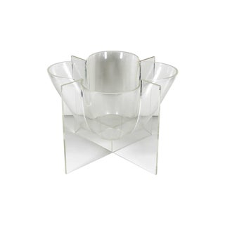 Lucite Ice Bucket Serving Dish Rosette Centerpiece