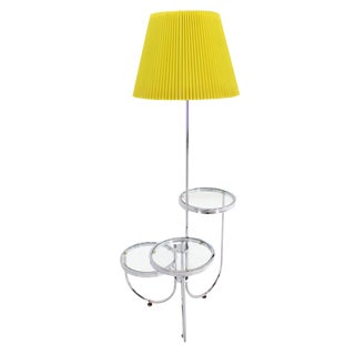Chrome Floor Lamp with Three Circular Built-In Stand Tables