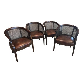 Hancock & Moore Leather & Wicker Club Chairs - Set of 4