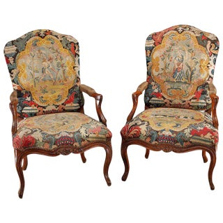Early 18th Century Walnut Fauteuils With Period Needlework - A Pair