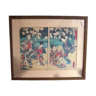 Original Japanese Woodblock Diptych Print by Toyokuni III