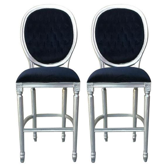 Image of Silver & Black Velvet French Bar Stools - A Pair