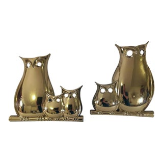 Mid-Century Gold Syroco Owl Wall Hangings- Set of 2