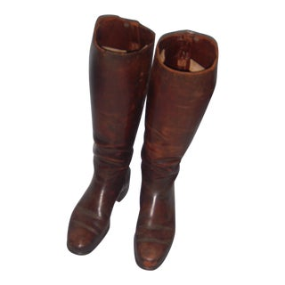 Old English Leather Riding Boots - Pair