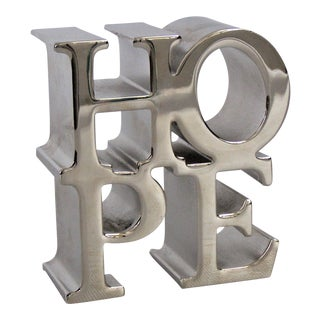 Robert Indiana Style Chrome Hope Paperweight Sculpture Mid Century Modern MCM Desk Accessories
