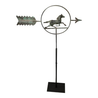 19th Century Running Horse within a Circle Weathervane on Stand