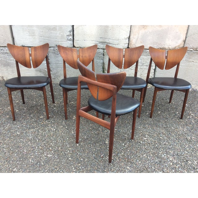 Ostervig Teak Leather Butterfly Chairs - Set of 5 - Image 6 of 9