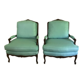 Aqua Sherrill French Bergere Chairs - a Pair