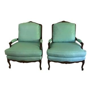 Aqua Sherrill French Bergere Chairs - a Pair